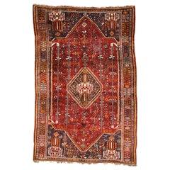 Vintage Persian Shiraz Qashqai Rug with Tribal Style