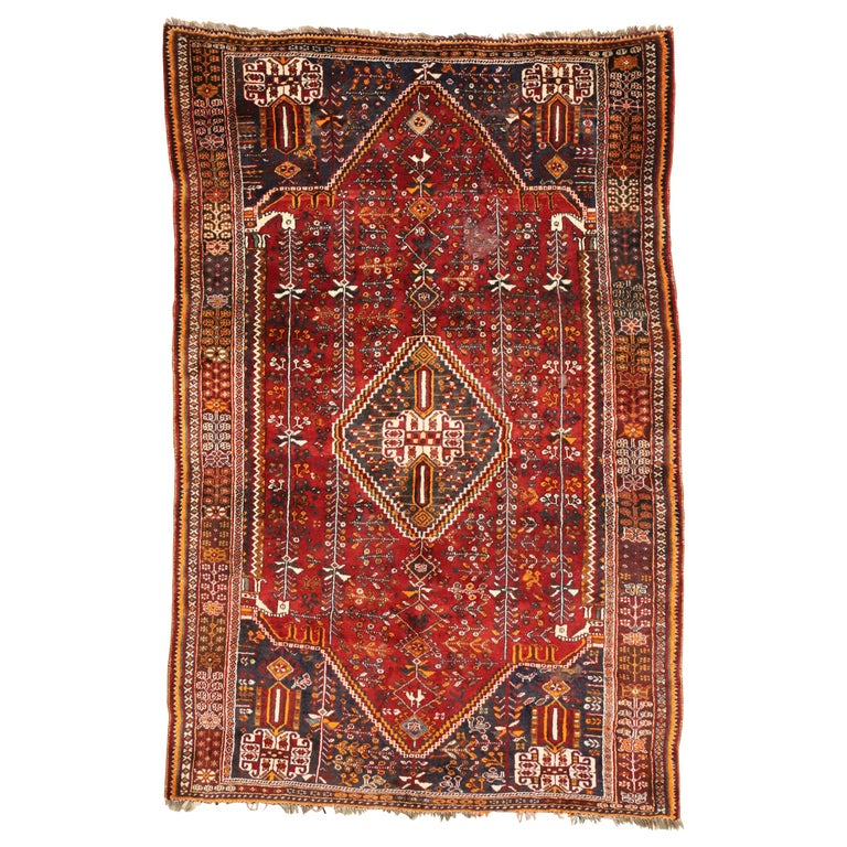 Qashqai Shiraz Rug: Vintage Persian Shiraz Qashqai Rug With Tribal Style For