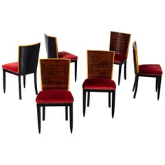 Set of Six Osvaldo Borsani Rosewood Ebonized Dining Chairs, circa 1950