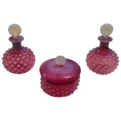Cranberry Opaline Glass Vanity Set