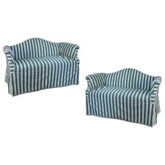 Pair of Petite Camelback Settees with Slipcovers in Green & White