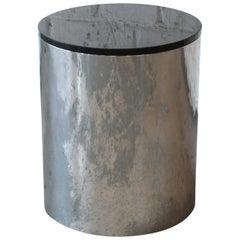 Paul Mayen for Habitat Polished Aluminum and Black Granite Drum End Table