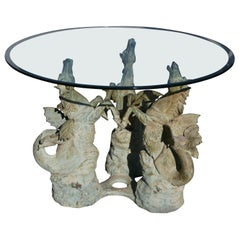 Bronze Hippocampus Center Table with Verdigris Patina