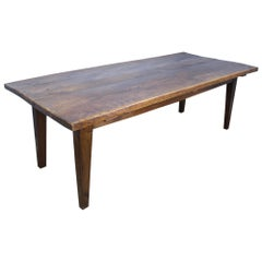 Antique Beechwood and Oak Thick Top Farm Table