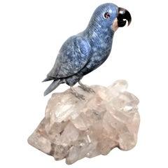 Carved Lapis and Hardstone Bird on Quartz Crystal Base