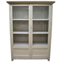 Painted Pine Glazed Cabinet or Vitrine
