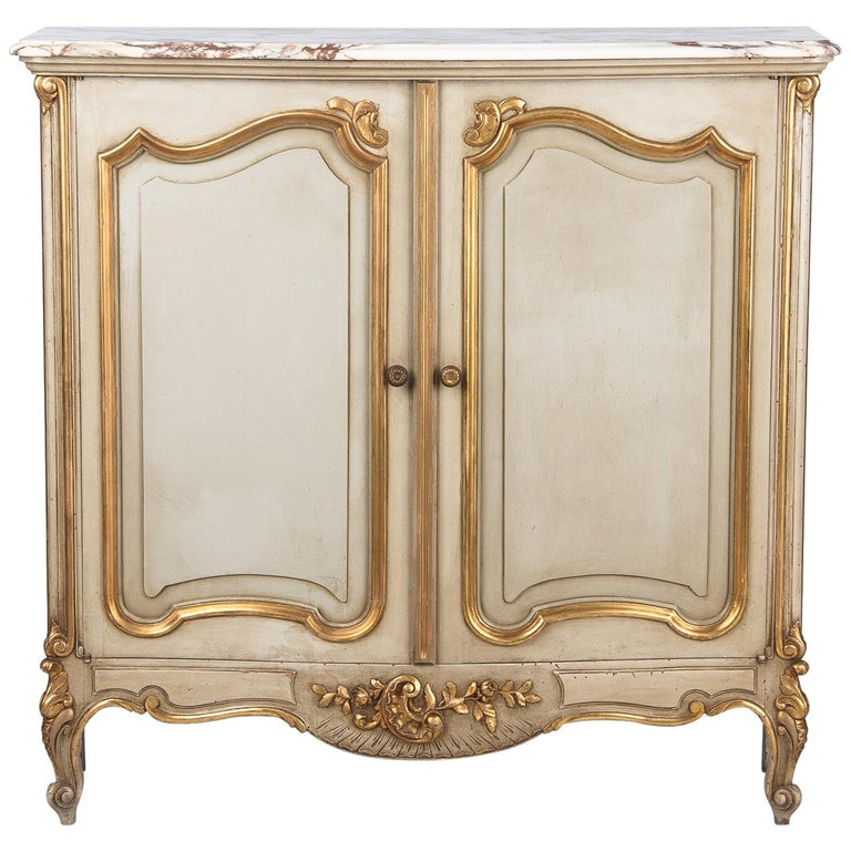 Italian Painted Sideboard with Marble Top in Louis XV Style, 1950s 1