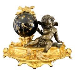 Unique 19th Century Empire-Style Figural Clock Depicting Cherub Recombinant