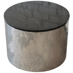 Paul Mayen for Habitat Polished Aluminum and Black Granite Drum Cocktail Table
