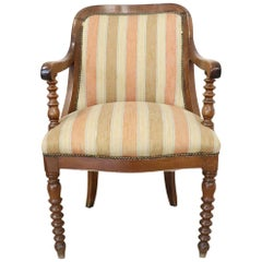 19th Century Italian Empire Walnut Armchair, Legs in Turned Walnut