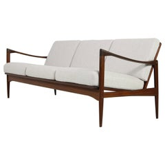 Beautiful Danish 1960s Kofod Larsen Teak Sofa, Mod. Kandidaten, New Upholstery