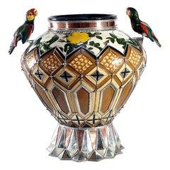 Parrot's Jar, Ceramic and White Metal 'Alpaca', Handmade
