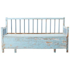 Rustic Swedish Farmhouse Pine Storage Bench or Settle