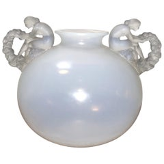 1926 René Lalique Bouchardon Handle Vase in Opalescent Glass, Women with Flowers