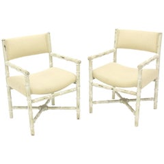 Pair of Distressed Finish Faux Bamboo Capitan Chairs with X Bases