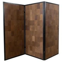 Rare Leather Three-Panel Folding Screen