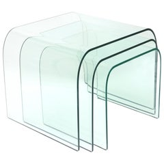 Trio of Pace Collection Waterfall Bent Glass Nesting Tables by Fiam