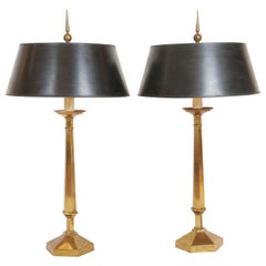 Pair of Frederick Cooper for Tyndale Decorative Brass Lamps with Finials, 1950s