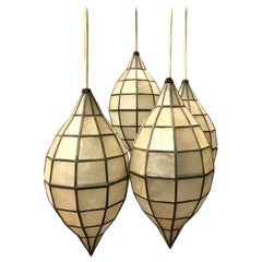 Mid Century Mother-of-Pearl Hanging Lanterns Pendant Chandelier