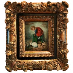 Vintage Original Oil Painting Framed Little Girl with Rabbit Perfect Gift