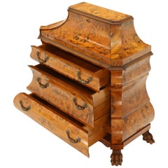 Italian Bombe Inlay Olive Wood Dresser Drop Front Jewerly Compartment Secretary