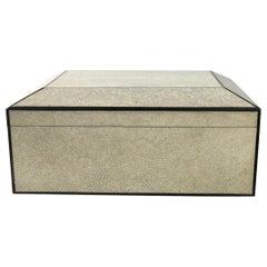 Shagreen Cigar Humidor Box with Ebony Inlay