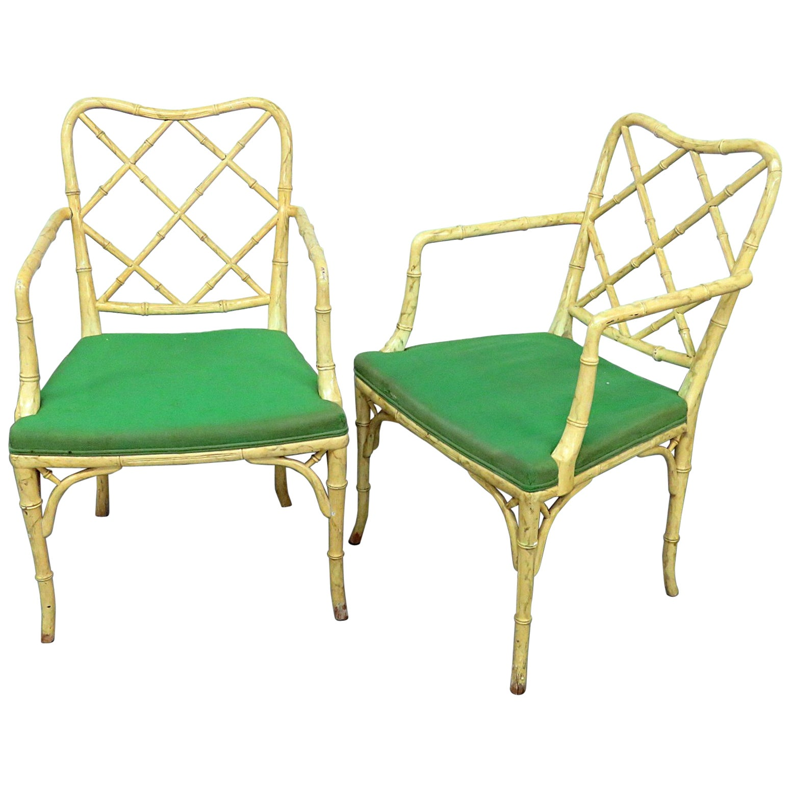 Pair of Vintage Chinese Chippendale Faux Bamboo Armchairs