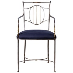Vintage French Steel Brass Armchair, circa 1940