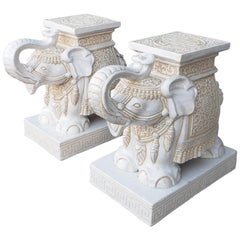 Pair of White and Cream Elephant Garden Seat