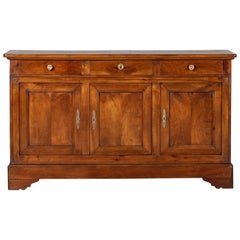 Louis Philippe Antique French Cherry Buffet Credenza Cabinet, circa 1850