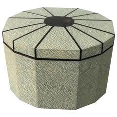 Shagreen Octagonal Box with Ebony Inlay
