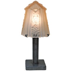 Iron and Glass Art Deco Table Lamp by Muller Freres.