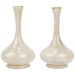 Pair of Salviati Attributed Aventurine and White Filigrana Venetian Glass Vases
