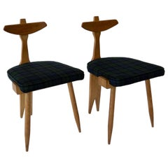 Guillerme et Chambron Pair of Side or Vanity Tripod Chairs Edition Votre Maison