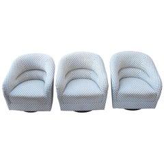 Set of Three Swivel Club Chairs by Ward Bennett