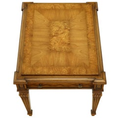 Weiman Burl Wood Top Rectangular One Drawer Side End Table Nightstand