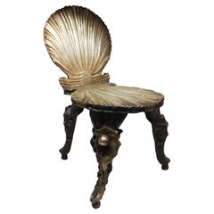 """Venetian Carved Wood """"Mecca"""" Grotto Chair in the Style of Pauly Et Cie"""