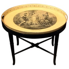 """""""Judgment of Paris"""" Tole Tray Table by Mottahedeh"""
