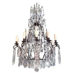 Fine French Crystal Chandelier Antique Ceiling Lamp Lustre Art Nouveau Lamp