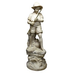 Charming Italian 19th-20th Century Carved Alabaster Figure of a Fisher Boy