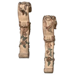 18th Century French Gilded Wood Pair of Console Legs/Decoration in Rococo Style