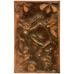 Brutalist Metal Wall Plaque in Patinated Copper Embossed Fishes Theme