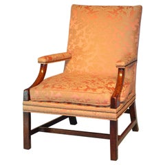 Antique English Mahogany Gainsborough Library Armchair