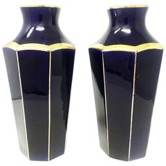 Pair of Original French Art Deco Vases, in Ceramic of Moulin Des Lupes, 1930s