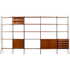Early 1950s Shelf System with Bar in Teak / Incl. Extra Shelfes and Brackets