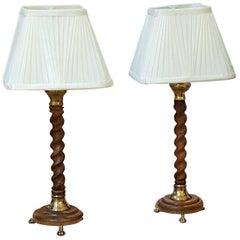 Pair of 1920s Oak Table Lamps