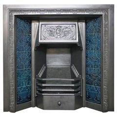 Restored Antique Victorian Cast Iron and Tiled Fireplace Insert