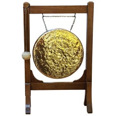 Late Victorian Oak Framed Brass Dinner Gong