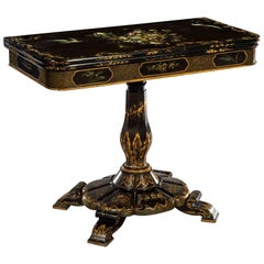 Victorian Black Lacquered and Painted Card Table