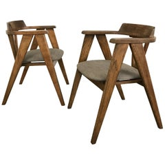 Pair of Mid-Century Modern Oak Compass Chairs